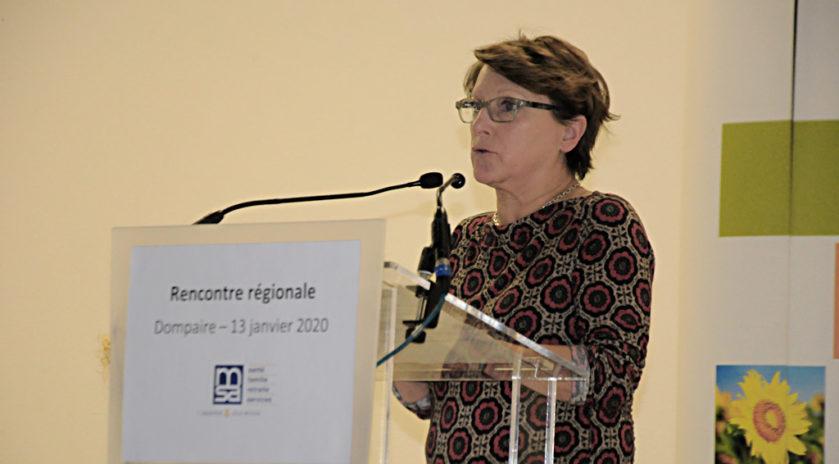 Marie-France Gérard, présidente de la fédération des maisons de santé du Grand Est, intervenant lors d'une rencontre organisée par la MSA à Dompaire (Vosges).