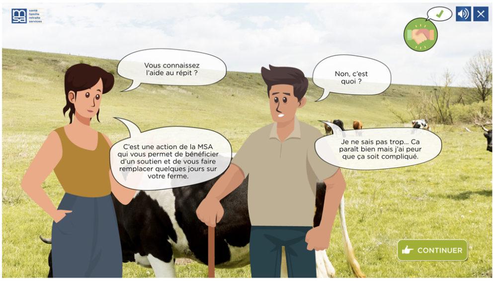 Un serious game permet aux élus MSA de se mettre en situation, comme ici un agriculteur en difficulté